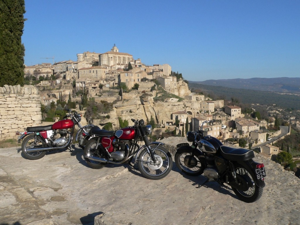 BSAs on Classic Bike Esprit motorcycle tour in the Luberon